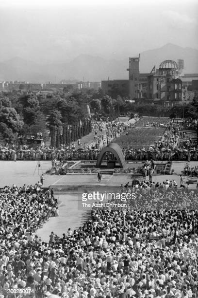 A general view of the Peace Memorial Ceremony at the Hiroshima Peace Memorial Park on the 18th anniversary of the Hiroshima ABomb dropping on August...