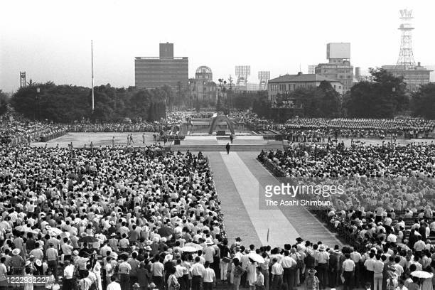 A general view of the Peace Memorial Ceremony on the 25th anniversary of the Hiroshima ABomb dropping at the Hiroshima Peace Memorial Park on August...