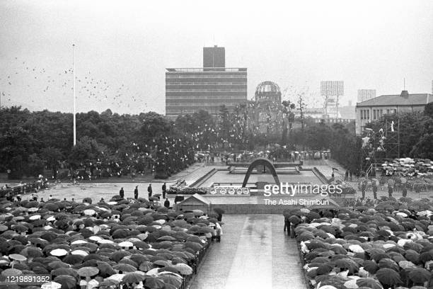 A general view of the Peace Memorial Ceremony on the 26th anniversary of the Hiroshima ABomb dropping at the Hiroshima Peace Memorial Park on August...