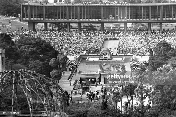 A general view of the Peace Memorial Ceremony on the 28th anniversary of the Hirosima ABomb dropping at the Hiroshima Peace Memorial Park on August 6...