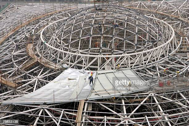 A general view of the Peking University Gymnasium which is under construction on March 22 2007 in Beijing China The gymnasium hosts table tennis...