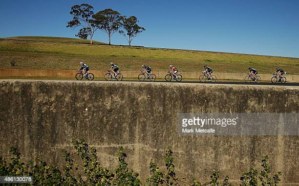 A general view of the pelaton during the Below the Belt Pedalthon at Sydney Motorsport Park on September 1 2015 in Sydney Australia Teams ride for up...