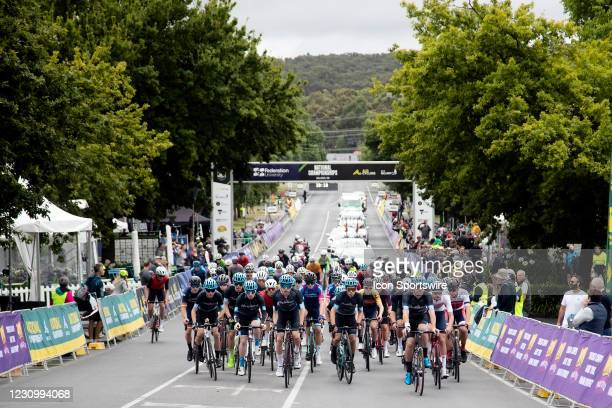 General view of the peloton at race start for the Under 19 mens road race as part of the Australian Road National Championships on February 06, 2021...