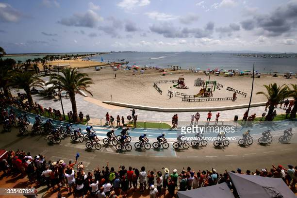 General view of the peloton compete during the 76th Tour of Spain 2021, Stage 8 a 173,7 km stage from Santa Pola to La Manga del Mar Menor /...