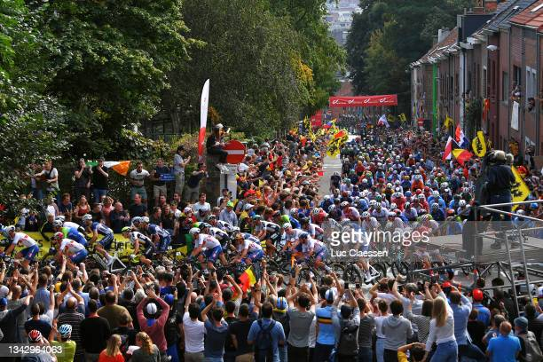 General view of the Peloton competing while fans cheer during the 94th UCI Road World Championships 2021 - Men Elite Road Race a 268,3km race from...
