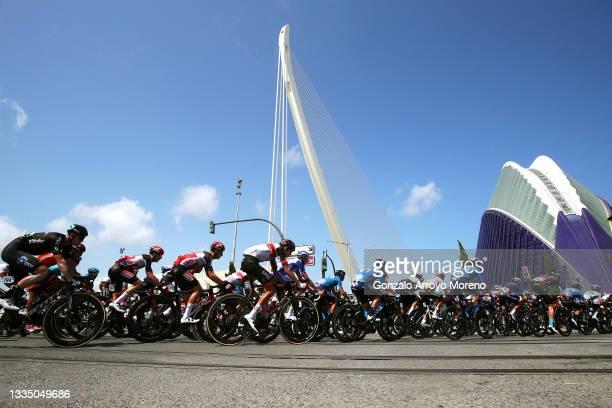 """General view of the Peloton in front of """"Ciudad de las Artes y las Ciencias"""" in Valencia City during the 76th Tour of Spain 2021, Stage 6 a 158,3km..."""