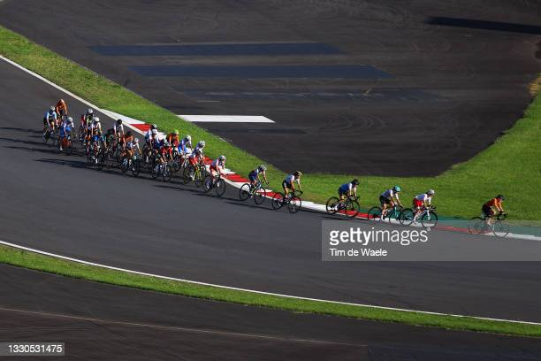 General view of the peloton on day two of the Tokyo 2020 Olympic Games at Fuji International Speedway on July 25, 2021 in Oyama, Shizuoka, Japan.