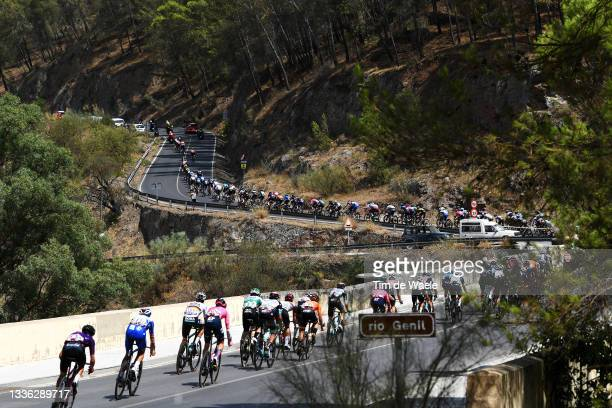 General view of the Peloton passing a bridge over Genil river during the 76th Tour of Spain 2021, Stage 11 a 133,6km stage from Antequera to...
