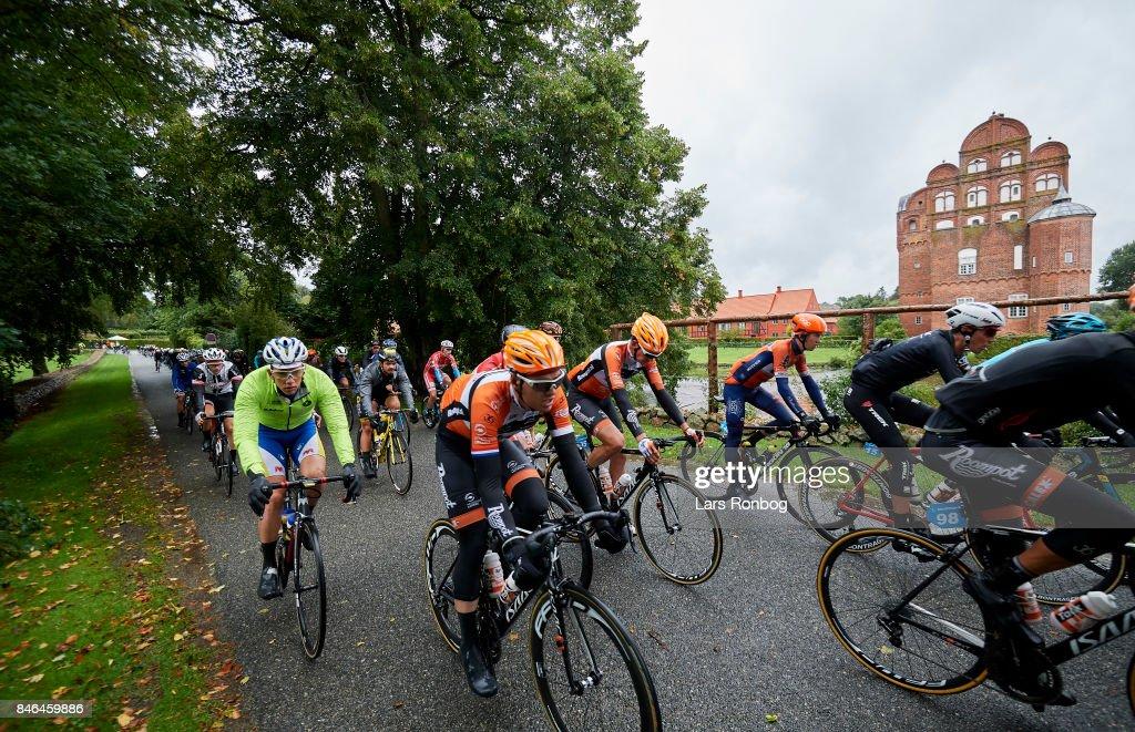 General view of the peloton passing Hesselagergard castle during stage two of Tour of Denmark PostNord Danmark Rundt 2017 from Svendborg to Odense on September 13, 2017 in Svendborg, Denmark.