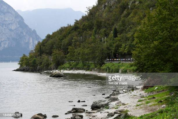 General view of the Peloton passing through Lake Como area during the 115th Il Lombardia 2021 a 239km race from Como to Bergamo / #ilombardia /...