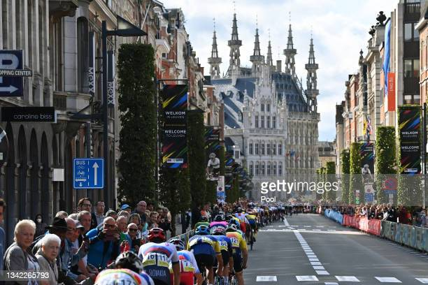 General view of the Peloton passing through Leuven City while fans cheer during the 94th UCI Road World Championships 2021 - Men U23 Road Race a...