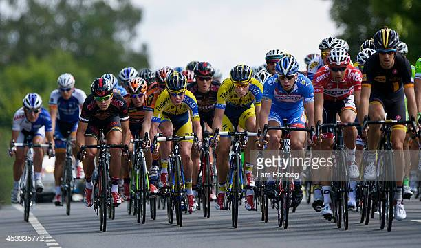 General view of the peloton riding with Jesper Hansen and Matti Beschel of Tinkoff Saxo in the middle during stage three of the Tour of Denmark...