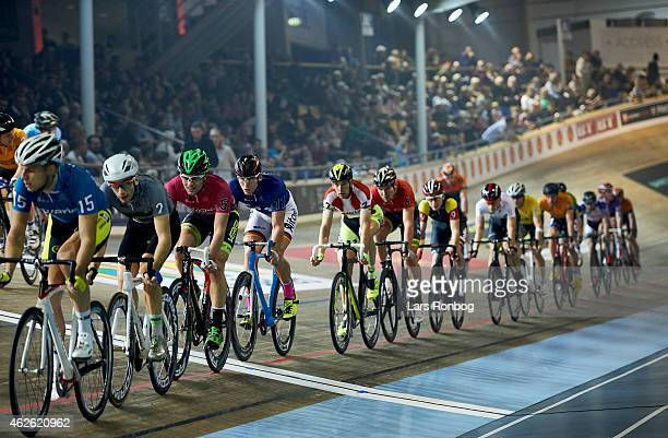 General view of the peloton with Michael Morkov of Denmark in the middle during the Copenhagen Six Days Cycling Race at Ballerup Super Arena on...