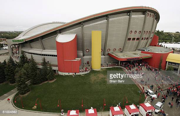 A general view of the Pengrowth Saddledome as the Calgary Flames host the Tampa Bay Lightning in Game Three of the NHL Stanley Cup Finals on May 29...