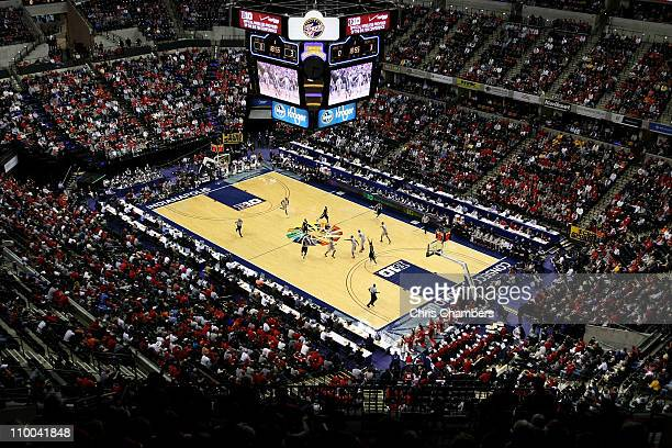A general view of the Penn State Nittany Lions bringing the ball up court against the Ohio State Buckeyes during the championship game of the 2011...