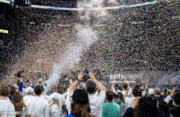A general view of the Penn State Nittany Lions through confetti after winning the Goodyear Cotton Bowl Classic at ATT Stadium on December 28 2019 in...