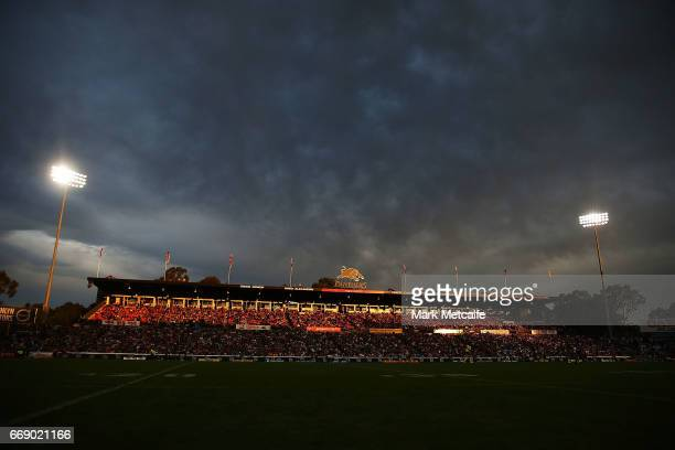 A general view of the Pepper Stadium at sunset during the round seven NRL match between the Penrith Panthers and the Cronulla Sharks at Pepper...
