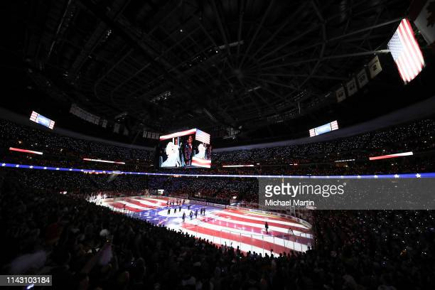 General view of the Pepsi Center during the National Anthem prior to the Colorado Avalanche against the Calgary Flames in Game Three of the Western...