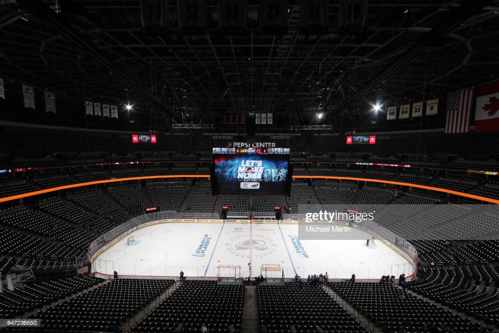 A general view of the Pepsi Center prior to Game Three of the Western Conference First Round during the 2018 NHL Stanley Cup Playoffs between the Colorado Avalanche and the Nashville Predators on April 16, 2018 in Denver, Colorado.