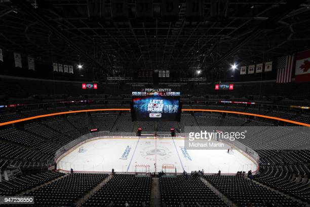 A general view of the Pepsi Center prior to Game Three of the Western Conference First Round during the 2018 NHL Stanley Cup Playoffs between the...