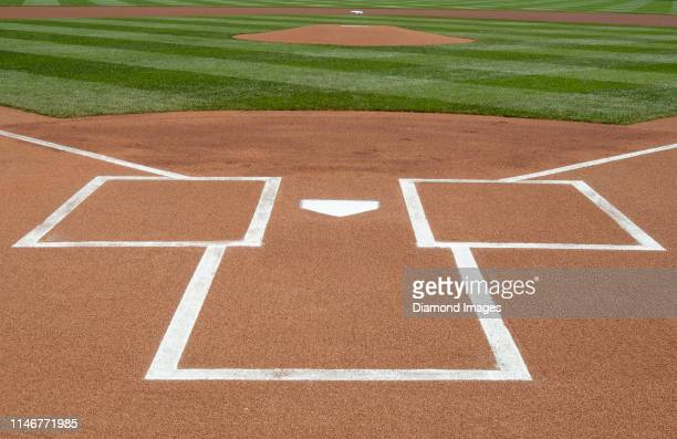 General view of the perfect presentation of home plate awaits the first pitch prior to a game between the Washington Nationals and St. Louis...