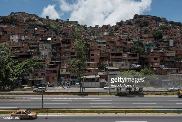 A general view of the Petare Slum the biggest favela of Venezuela with more than 1 million habitants in Petare district of Caracas on August 28 2017