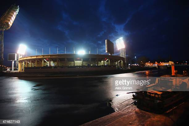A general view of the Petrovsky stadium on the day before the UEFA Champions League Round of 16 match between FC Zenit St Petersburg and Borussia...