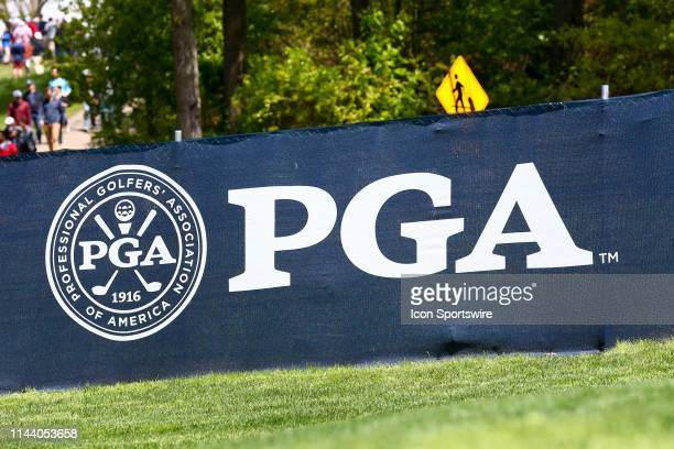 General view of the PGA Logo during the PGA Championship on May 15, 2019 at Bethpage State Park the Black Course in Farmingdale, NY.