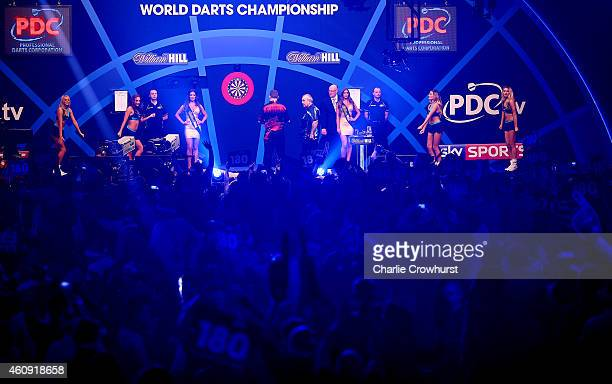 A general view of the Phil Taylor of England against Kim Huybrechts of Belgium third round match during the William Hill PDC World Darts...