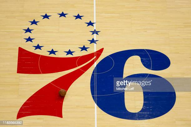 General view of the Philadelphia 76ers center court logo against the Boston Celtics at the Wells Fargo Center on October 23, 2019 in Philadelphia,...