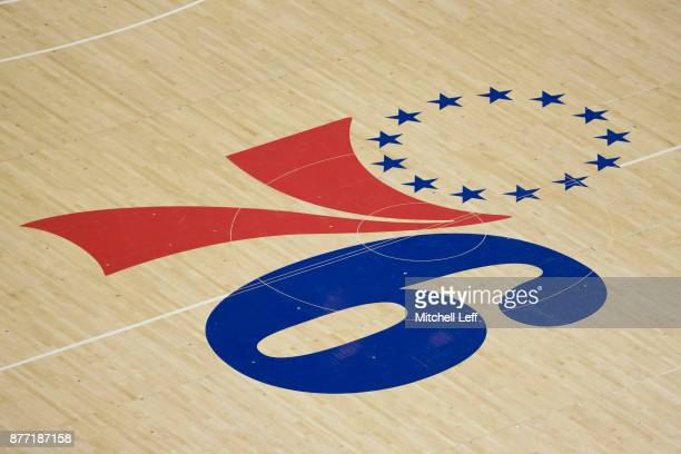 General view of the Philadelphia 76ers logo at center court against the Golden State Warriors at the Wells Fargo Center on November 18, 2017 in...
