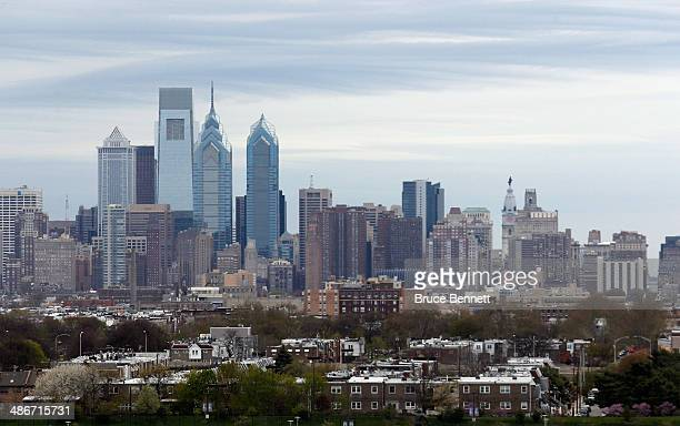 A general view of the Philadelphia city skyline prior to the game between the Philadelphia Flyers and the New York Rangers in Game Four of the First...