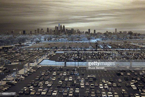 General view of the Philadelphia city skyline prior to the game between the Philadelphia Flyers and the New York Rangers in Game Four of the First...