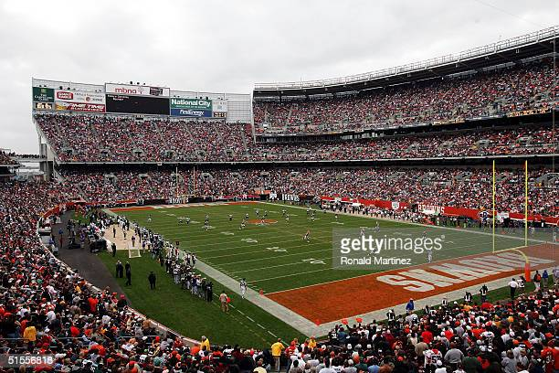 A general view of the Philadelphia Eagles and the Cleveland Browns on October 24 2004 at Cleveland Browns Stadium in Cleveland Ohio