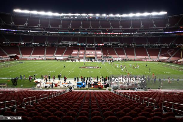 General view of the Philadelphia Eagles playing against the San Francisco 49ers at Levi's Stadium on October 04, 2020 in Santa Clara, California.