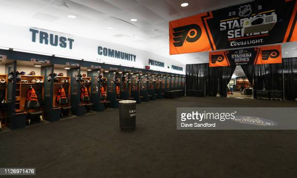 A general view of the Philadelphia Flyers locker room is seen ahead of the 2019 Coors Light NHL Stadium Series game between the Pittsburgh Penguins...