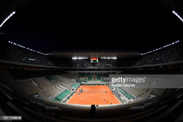 General view of the Philippe Chatrier court during the mens first round match between Novak Djokovic of Serbia and Tennys Sandgren of The United...