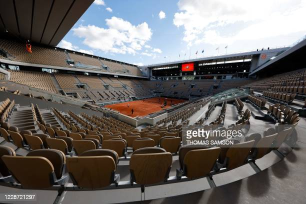 General view of the Philippe Chatrier court, on the eve of the start of The Roland Garros 2020 French Open tennis tournament in Paris on September...