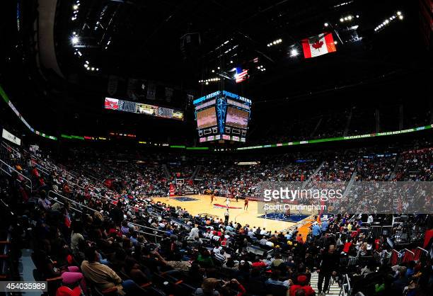 A general view of the Philips Arena during the Atlanta Hawks game against the Cleveland Cavaliers on December 6 2013 at Philips Arena in Atlanta...
