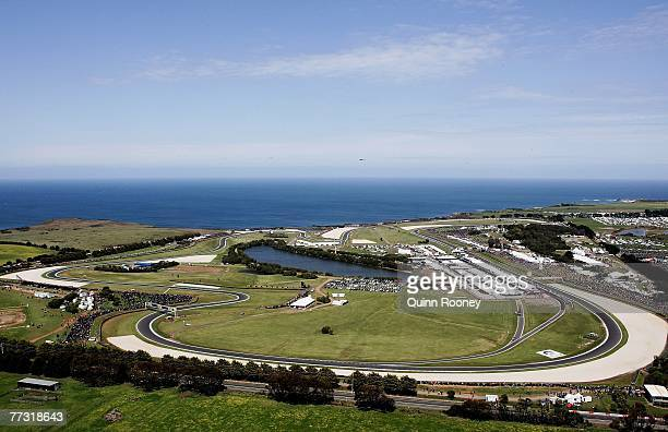 General view of the Phillip Island race track during the 2007 Australian Motorcycle Grand Prix held at Phillip Island October 14, 2007 on Phillip...