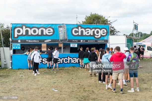 General view of the phone charging station during Reading Festival 2021 at Richfield Avenue on August 29, 2021 in Reading, England.