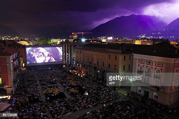 A general view of the Piazza Grande as spectators watch a film during the 62nd Locarno international film festival on late August 9 2009 in Locardo...