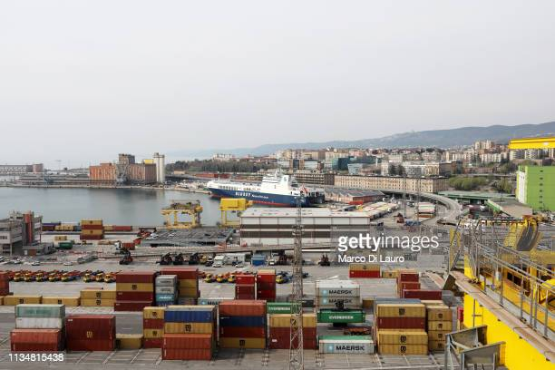 General view of the Pier VII is seen at Trieste's new Port on April 2, 2019 in Trieste, Italy. The historic city of Trieste is preparing to open its...