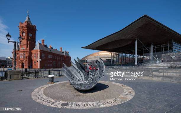 General view of the Pierhead Building and Senedd, home of the National Assembly for Wales, in Cardiff Bay on April 13, 2019 in Cardiff, United...