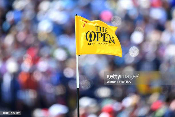 A general view of the pin flag on the seventh hole during round one of the 147th Open Championship at Carnoustie Golf Club on July 19 2018 in...
