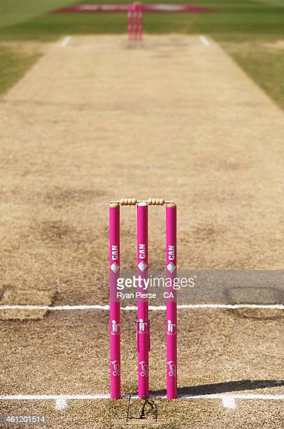 A general view of the pink stumps during day four of the Fourth Test match between Australia and India at Sydney Cricket Ground on January 9 2015 in...