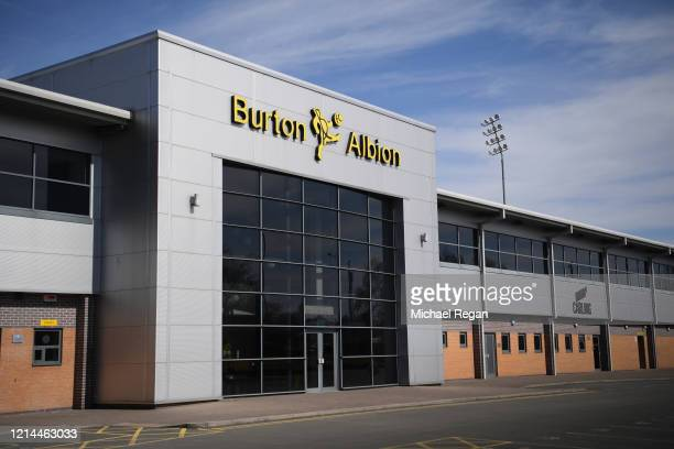 General view of the Pirelli Stadium, home of Burton Albion FC on March 23, 2020 in Leicester, England.