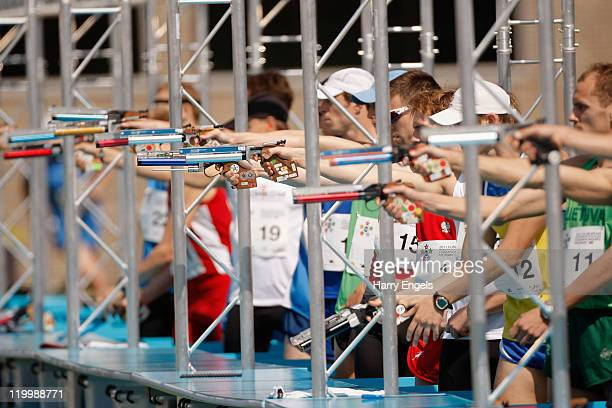 A general view of the pistol range during the Combined Event during the men's semi final round at the modern pentathlon European Championships at...
