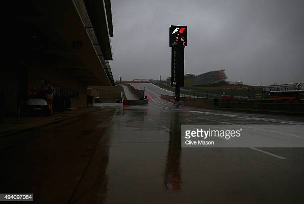 A general view of the pit lane after qualifying was suspended due to bad weather for the United States Formula One Grand Prix at Circuit of The...