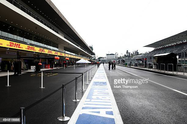 General view of the pit lane ahead of the Formula One Grand Prix of Mexico at Autodromo Hermanos Rodriguez on October 28, 2015 in Mexico City, Mexico.